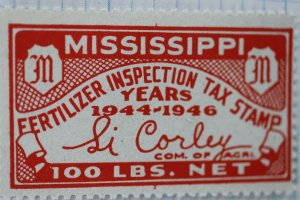 US MS Fertilizer Inspection Tax Stamp 100lbs 1944-46 MNH