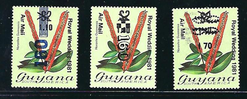 Guyana Scott #491, 491a & 492, Unused, never hinged