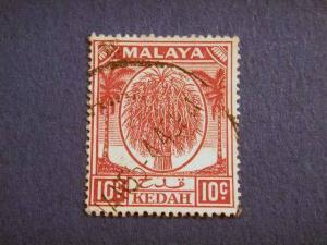 KEDAH, 1950, used 10c. mauve,  Sheaf of Rice