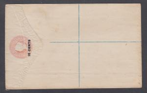 Ceylon H&G C5a, mint. 1885 15c surcharge on 12c pink QV Registration Envelope