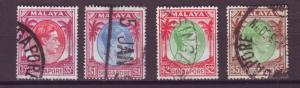 J21356 Jlstamps 1949-52 singapore used #15,18a,19a,20a king perf 18