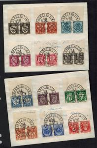 1942 Nice Vichy France Cover Stamp Day Cancel Coat of Arms Set Pairs # B117-B128