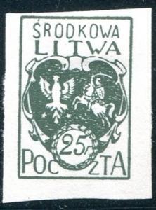 Central Lithuania Sc#2 Imperf. MH No Gum (Cl)