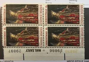 US #1363 PB (MNHOG) [Plate Block Mint No Hinge Original Gum] Christmas