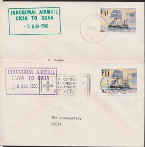 FIJI 1980 pair of first flight covers SUVA - CICIA and return...............5707