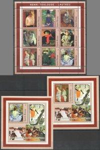 NS0063 2001 GUINEA-BISSAU ART PAINTINGS HENRI TOULOUSE-LAUTREC !!! 1KB+2BL MNH