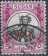 """Sudan O48 (used) 5m Shilluk warrior, plum, ovtpd """"S.G."""" (1951)"""