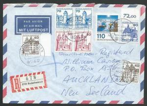 GERMANY 1988 Registered airmail cover to New Zealand - nice franking.......11266