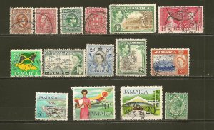 Jamaica Lot of 15 Different Older Stamps Used