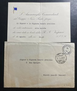 1937 Italian Legation In Cairo Egypt Diplomatic Cover To Ramleh With Card