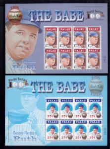 Baseball - BABE RUTH Commemorative S/S Set X2 MNH Palau E30