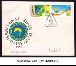 PAKISTAN - 1992 INTERNATIONAL SPACE YEAR - 2V-  FDC SOILED COVER
