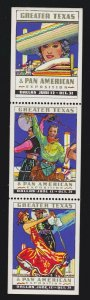 US 1937 Texas Pan-American Expo Cinderella Poster Stamps Strip of 3 OG NH