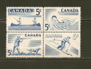 Canada 365-368 Sports Se-tenant Block of 4 MNH