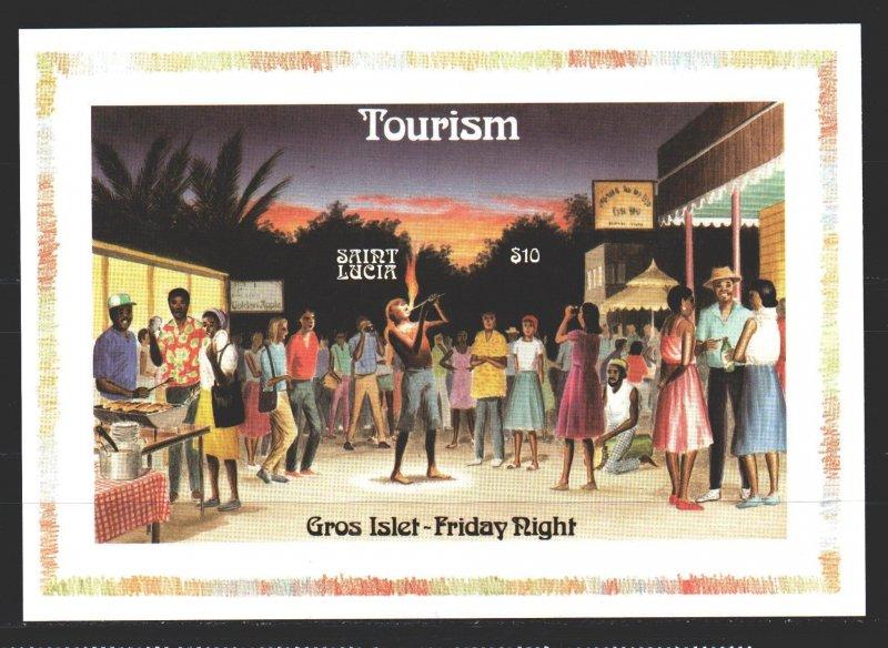St Lucia. 1986. bl51. Tourism, street magician. MNH.