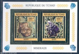 CHAD 2013 MINERALS  SHEET OF TWO GOLD FOIL MINT NEVER HINGED