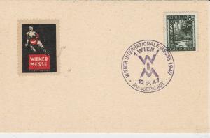 Austria 1947 Wien Vienna international Fair  Cancel Stamps Card ref R 16290