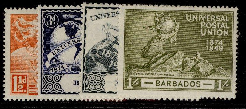 BARBADOS GVI SG267-270, anniversary of UPU set, LH MINT.