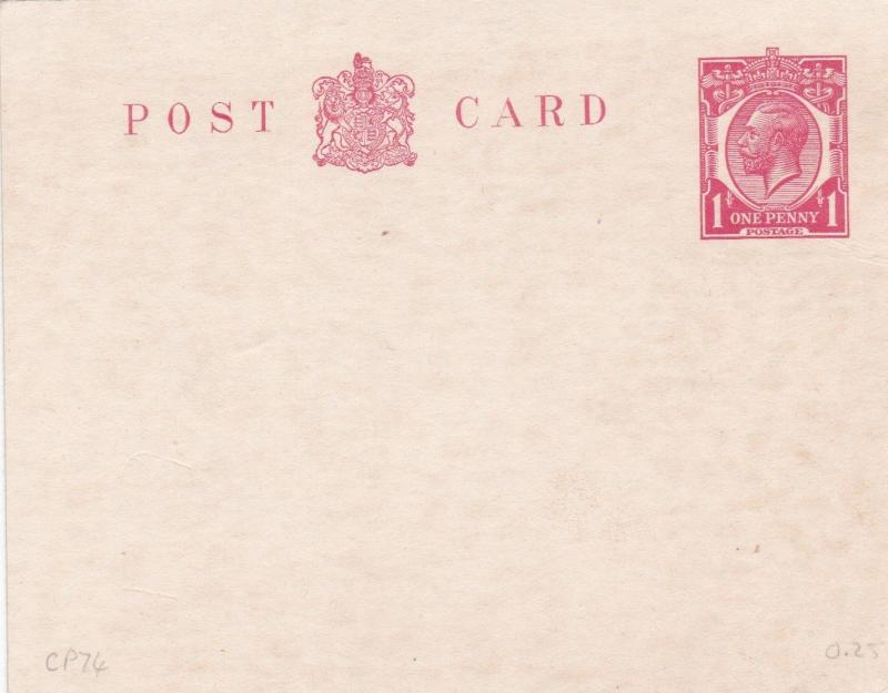 King George V 1D Prepaid Postcard Unused VGC
