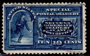 US Stamp #E5a 10c Blue Special Delivery USED SCV $80. Dots in Curved Frame ...