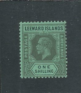 LEEWARD IS 1921-32 MSCA DIE 1 1s BLACK/EMERALD MM SG 87 CAT £60