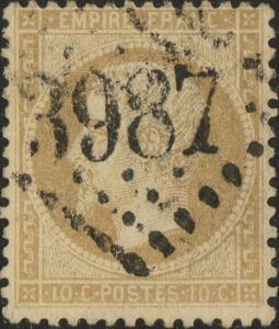 FRANCE - Yv.21 10c bistre ob. GC3987 (Tourcoing) - TB