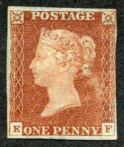1841 Penny Red (EF) Plate 13 MINT part gum (surface rub) Four Margins