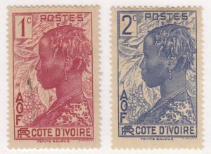 Ivory Coast, , Sc # 112-113, MH & MNG, 1936, Native