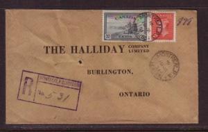 Canada Sc 271, 292 on 1951 Registered cover to Burlington, Onatrio