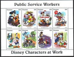 Guyana. 1995. Small sheet 5097-5104. Mickey Mouse, Disney cartoons. MNH.