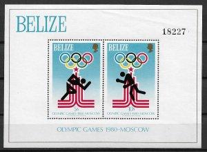 1980 Belize 459 Summer Olympics MNH S/S