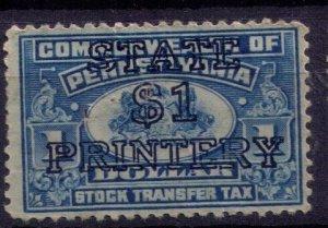 PA ST42 - Overprint Surchage Black $1 Printery Pennsylvania US Stock Transfer MH