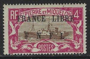 St Pierre & Miquelon 1941 4c France Libre FNFL Ovpt Sc# 208 mint