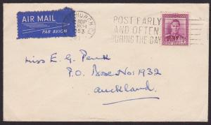 NEW ZEALAND 1953 cover GVI 4d paying internal airmail rate..................1628