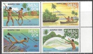 Palau 55-8  MNH Block of 4, AUSIPEX 1984