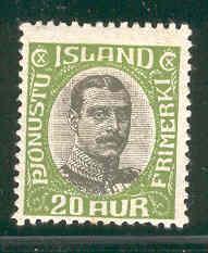 ICELAND O45 MINT HINGED CHRISTIAN X 1920
