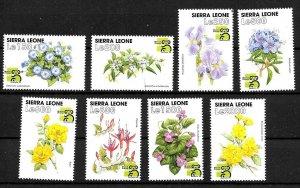 #8509 SIERRA LEONA 1999 FLORA  FLOWERS COMPLET SET YV 2621-8 MNH