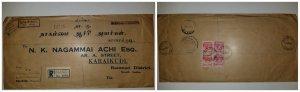 O) 1954 MALAYA - PENANG, KING GEORGE VI, REGISTERED FROM PENANG, N.K. NAGAMMAI T