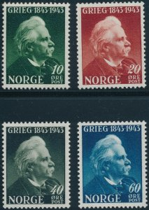Stamp Norway Sc 255-8 1943 WWII Edvard Grieg Composer Invasion War Germany MNH