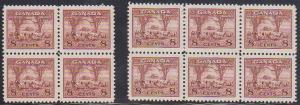 Canada USC #256 Mint 1942 8c Farm Scene (10) Inc. Blocks - VF-NH