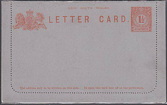 NEW SOUTH WALES 1½d lettercard fine unused.................................53764