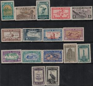 Colombia 1935 SC 421-436 Mint SCV $1350.00 Rare Set