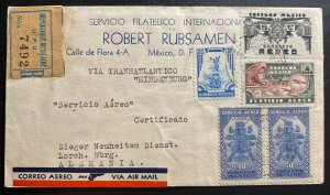 1936 Mexico Hindenburg Zeppelin LZ 129 Airmail Cover To Lorch Germany