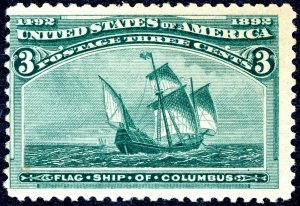 US #232 – 1893 3c Columbian Commemorative.  Unused VLH OG. F
