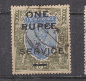 INDIA, SERVICE, 1925  KGV ONE RUPEE on 15r. Blue & Olive, used, toning.