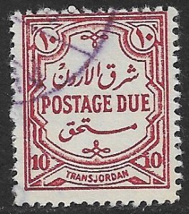 JORDAN 1942 10m Dark Carmine LITHO Postage Due Scott No. J38 VFU