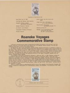 US SP651 Roanoke Voyages Souvenir Page #2093