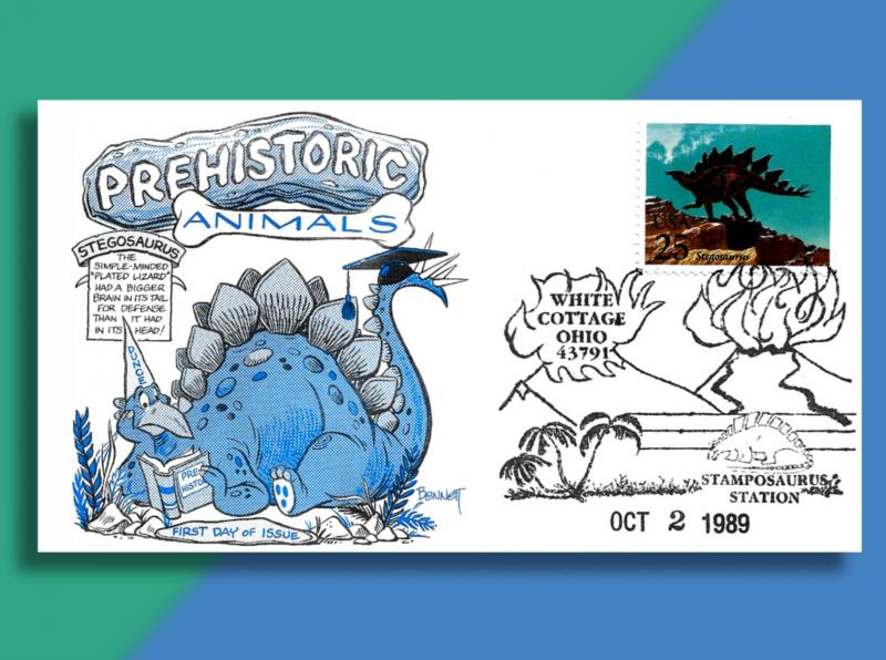 These 4 Dinosaurs Lumbered to Ohio for Special 2nd Day Pictorial Postmarks!