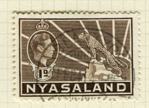 NYASALAND; 1938 early GVI issue fine used 1d. value
