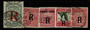 Colombia 5 Air Post Registration Stamps, Used, right most has pinhole - S10327